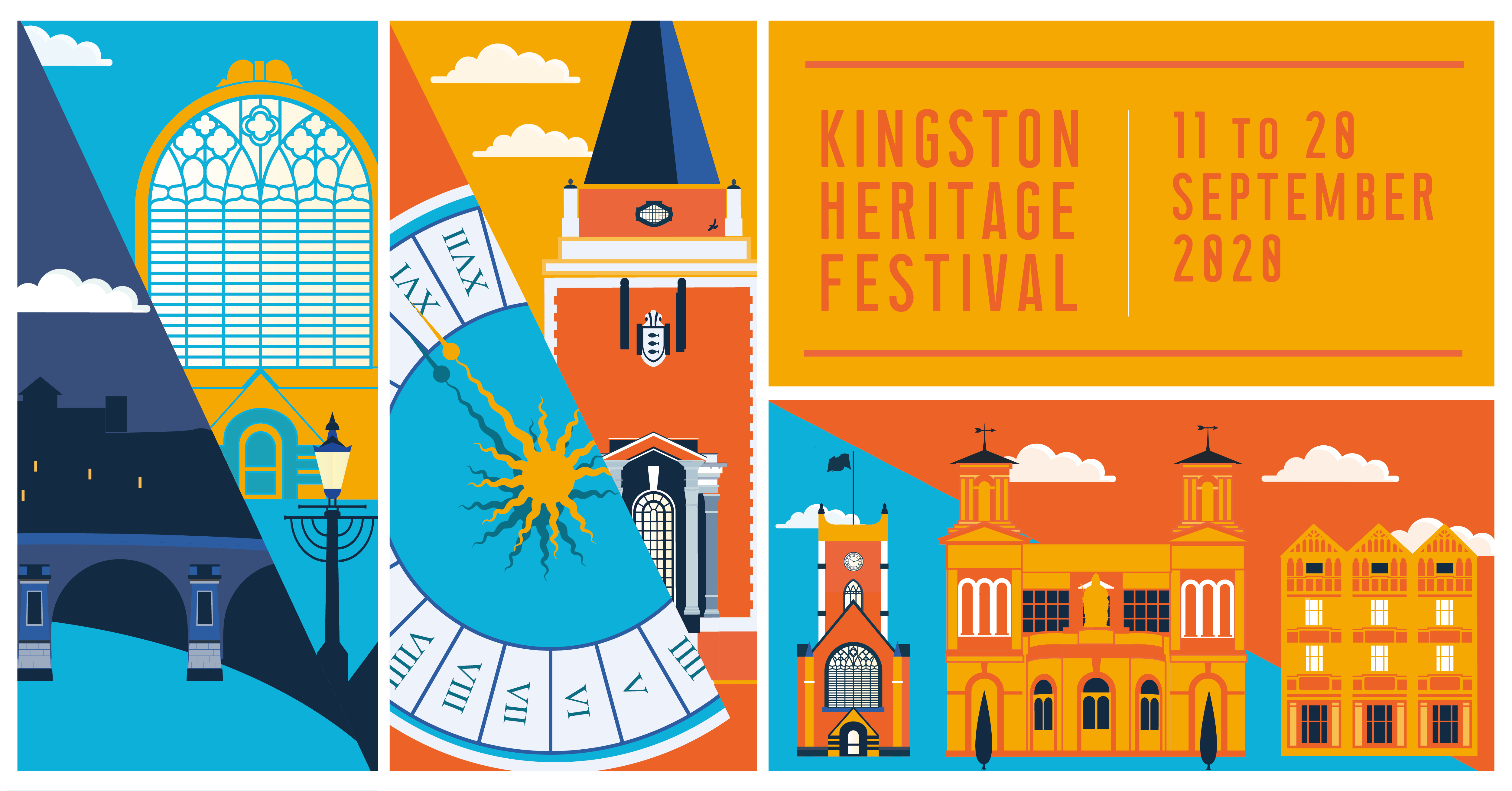 Simplistic drawings in bright colours of famous buildings from the borough including the guildhall, Kingston bridge and market place