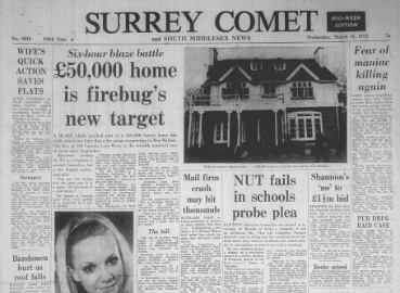 An old edition of the Surrey Comet.