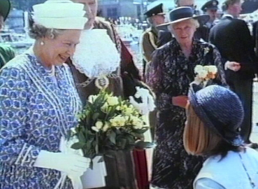 A screenshot from the film made documenting Queen Elizabeth II's visit to Kingston in 1992.