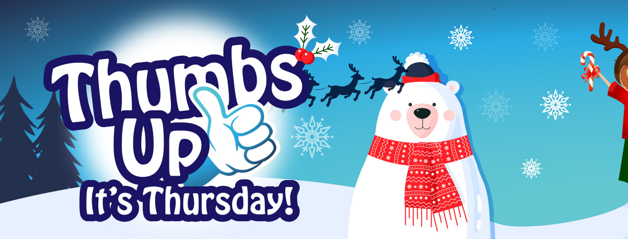 A snowman next to the Thumbs Up it's Thursday logo