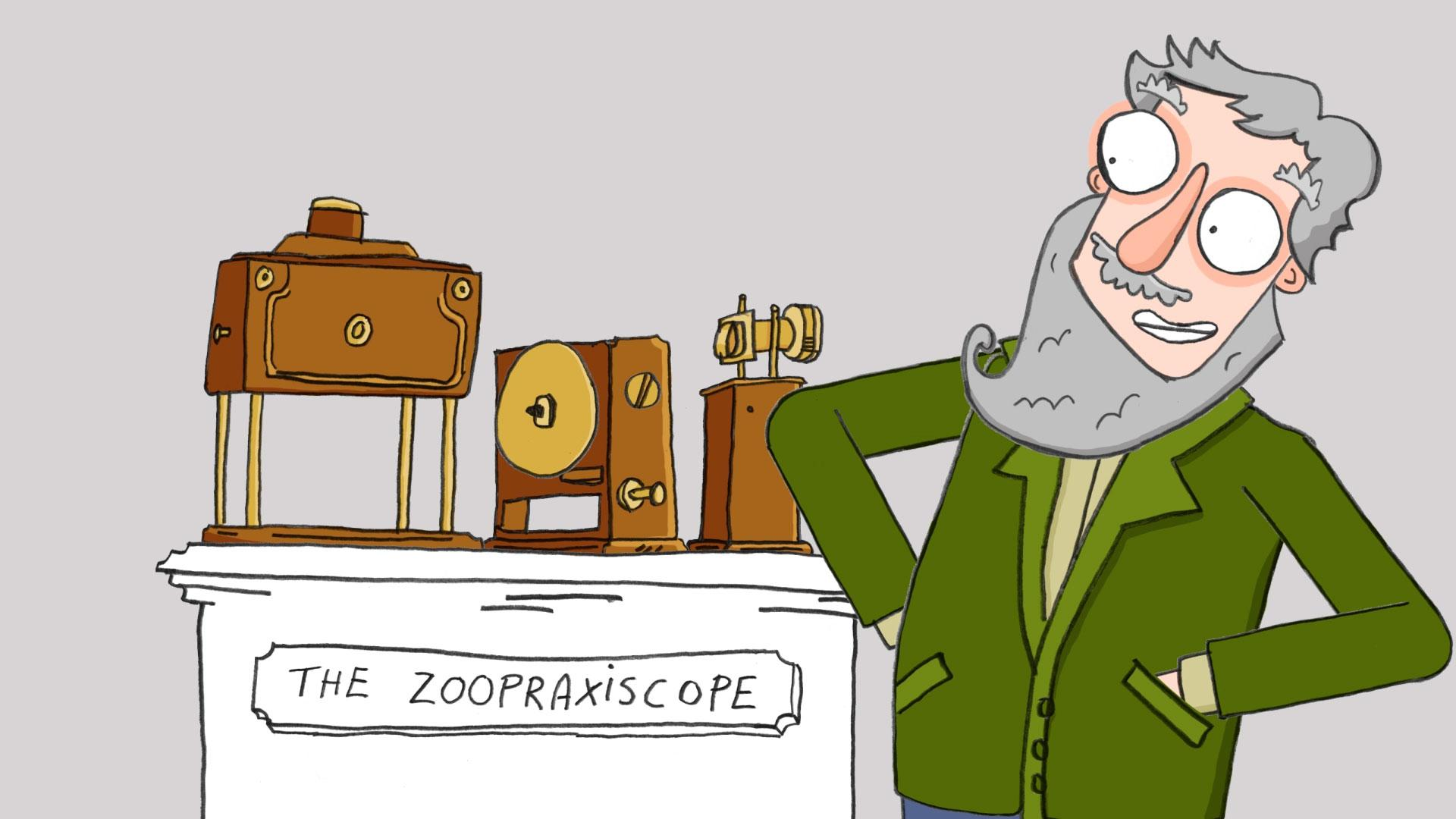An animated drawing of Muybridge stood next to his zoopraxiscope.