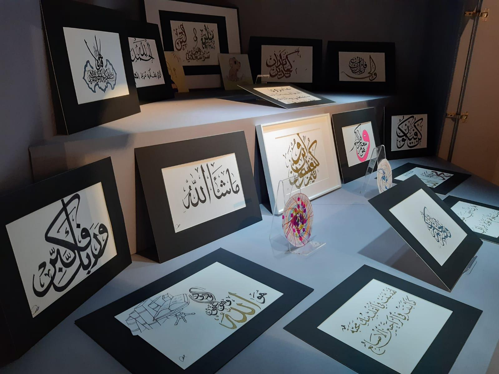 A calligraphy collection on display in the Community Case at Kingston Museum